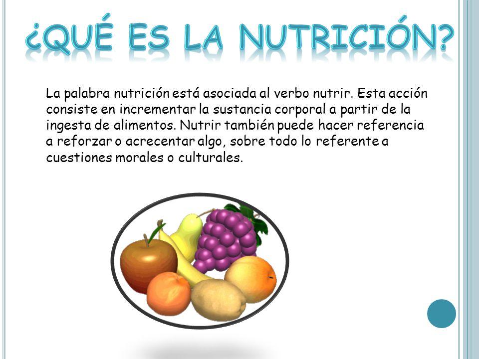 La palabra nutrición está asociada al verbo nutrir.