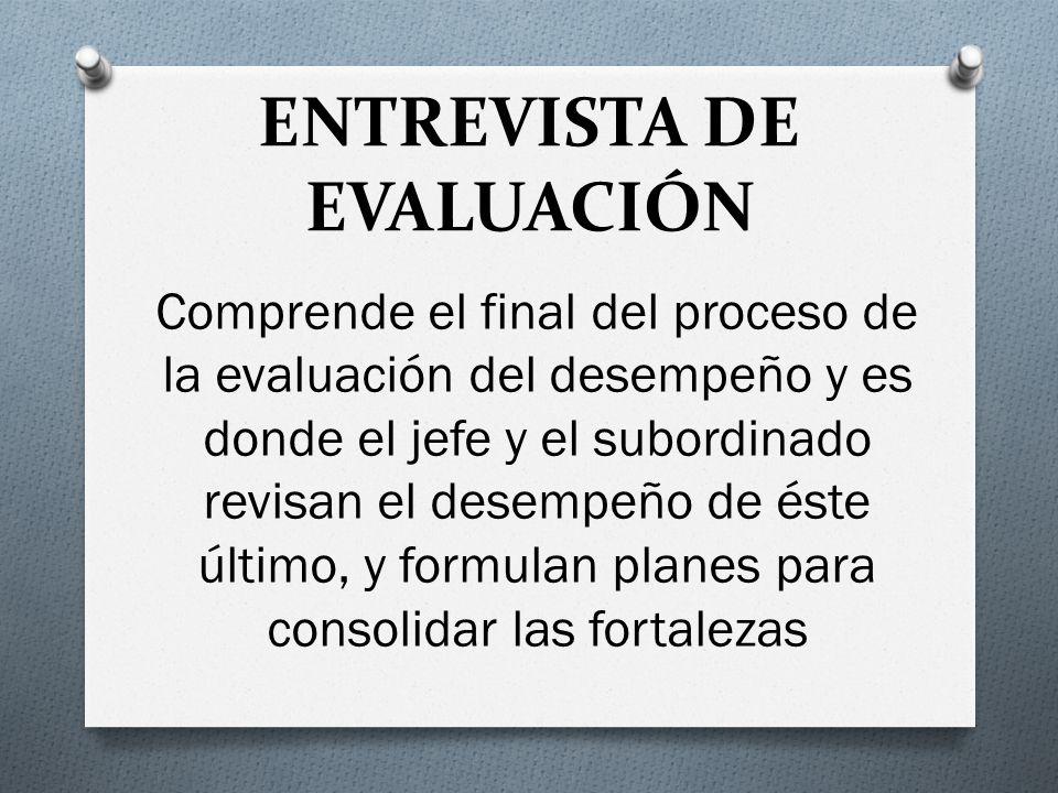 ENTREVISTA DE EVALUACIÓN Comprende el final del proceso de la evaluación del desempeño y es donde el jefe y el subordinado revisan el desempeño de éste último, y formulan planes para consolidar las fortalezas