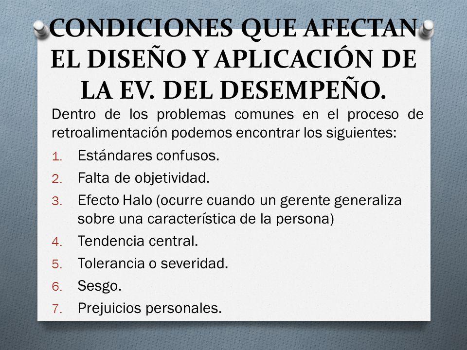 CONDICIONES QUE AFECTAN EL DISEÑO Y APLICACIÓN DE LA EV.
