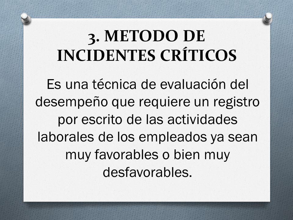 3. METODO DE INCIDENTES CRÍTICOS Es una técnica de evaluación del desempeño que requiere un registro por escrito de las actividades laborales de los e