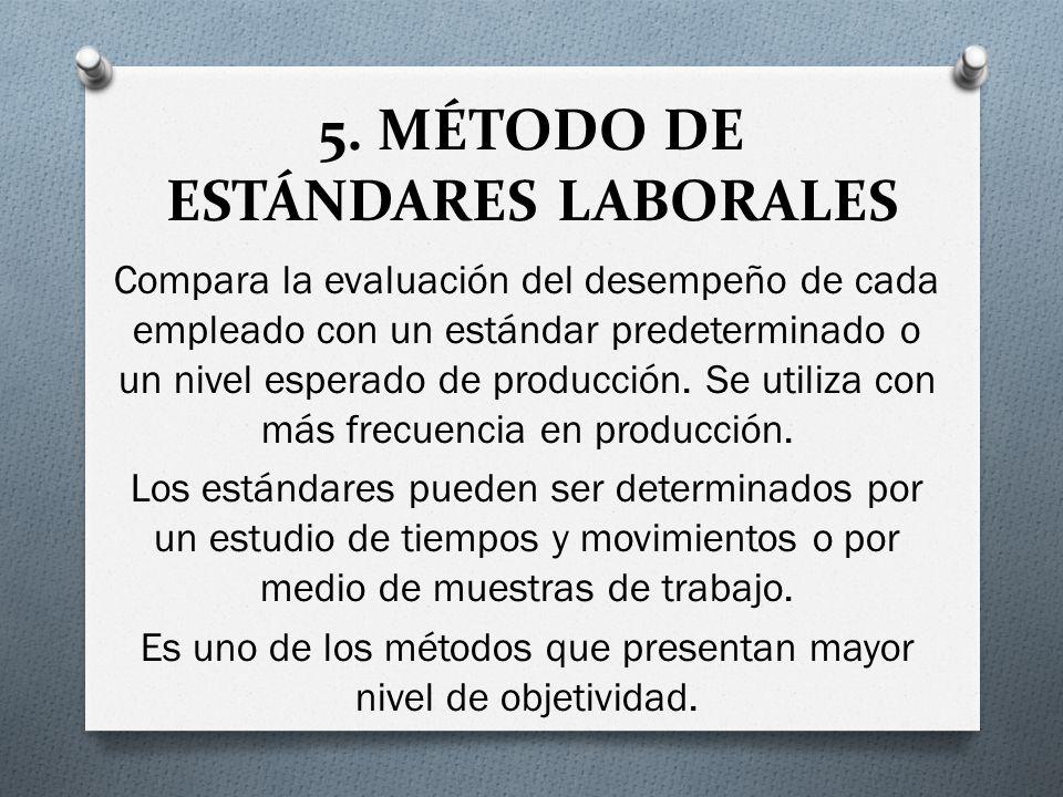 5. MÉTODO DE ESTÁNDARES LABORALES Compara la evaluación del desempeño de cada empleado con un estándar predeterminado o un nivel esperado de producció