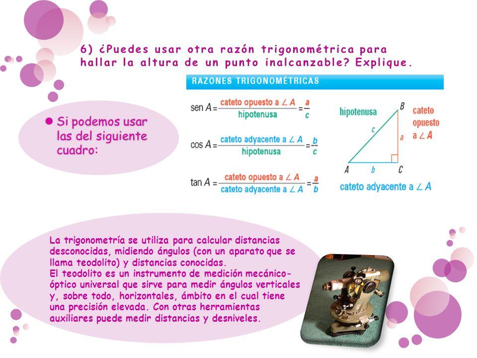 La trigonometría se utiliza para calcular distancias desconocidas, midiendo ángulos (con un aparato que se llama teodolito) y distancias conocidas. El