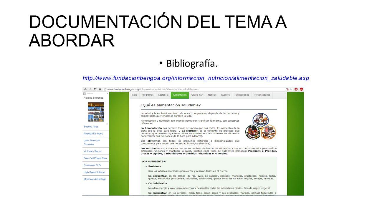 DOCUMENTACIÓN DEL TEMA A ABORDAR Bibliografía.