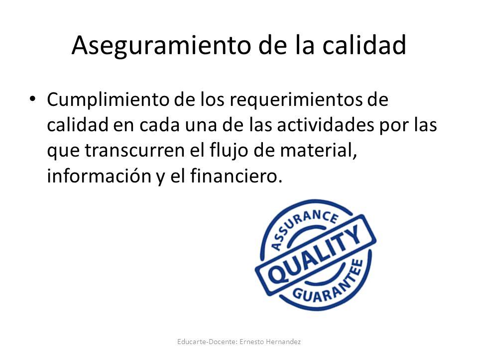 Aseguramiento de la calidad Cumplimiento de los requerimientos de calidad en cada una de las actividades por las que transcurren el flujo de material, información y el financiero.