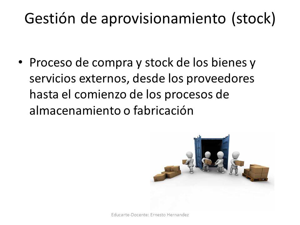 Gestión de aprovisionamiento (stock) Proceso de compra y stock de los bienes y servicios externos, desde los proveedores hasta el comienzo de los procesos de almacenamiento o fabricación Educarte-Docente: Ernesto Hernandez