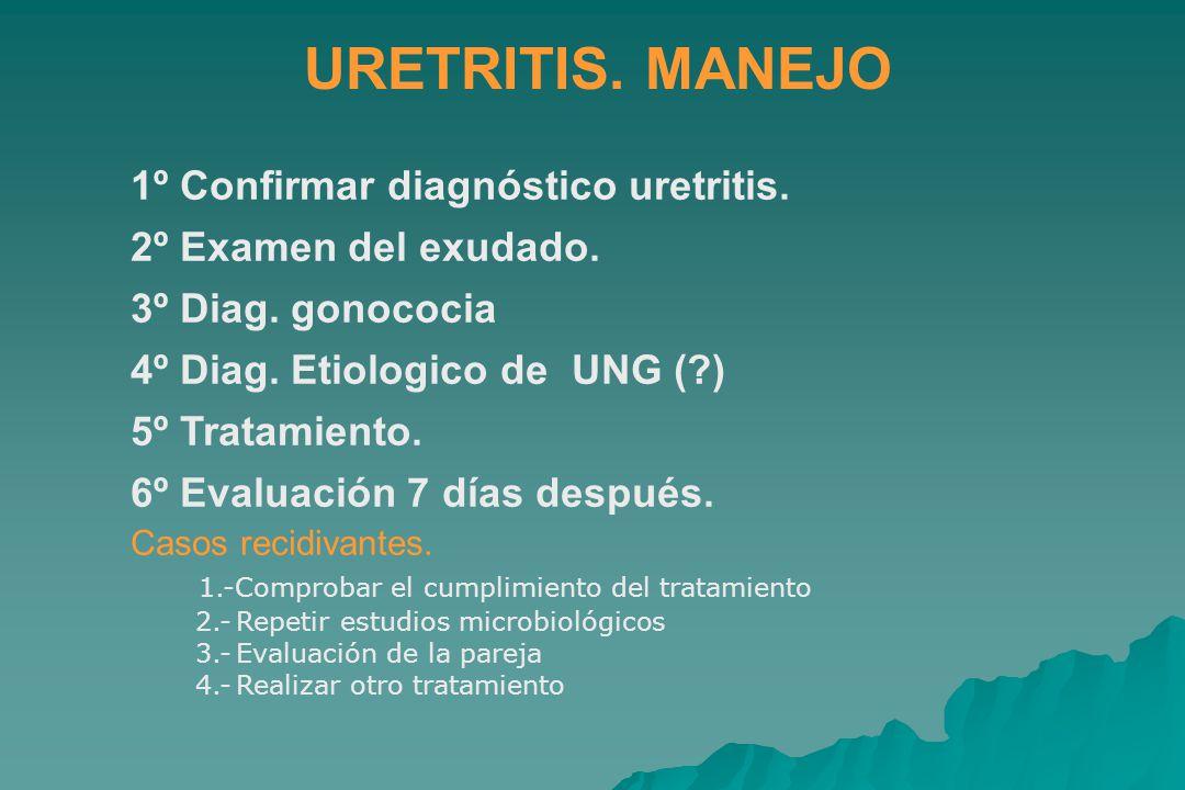 URETRITIS.MANEJO 1º Confirmar diagnóstico uretritis.