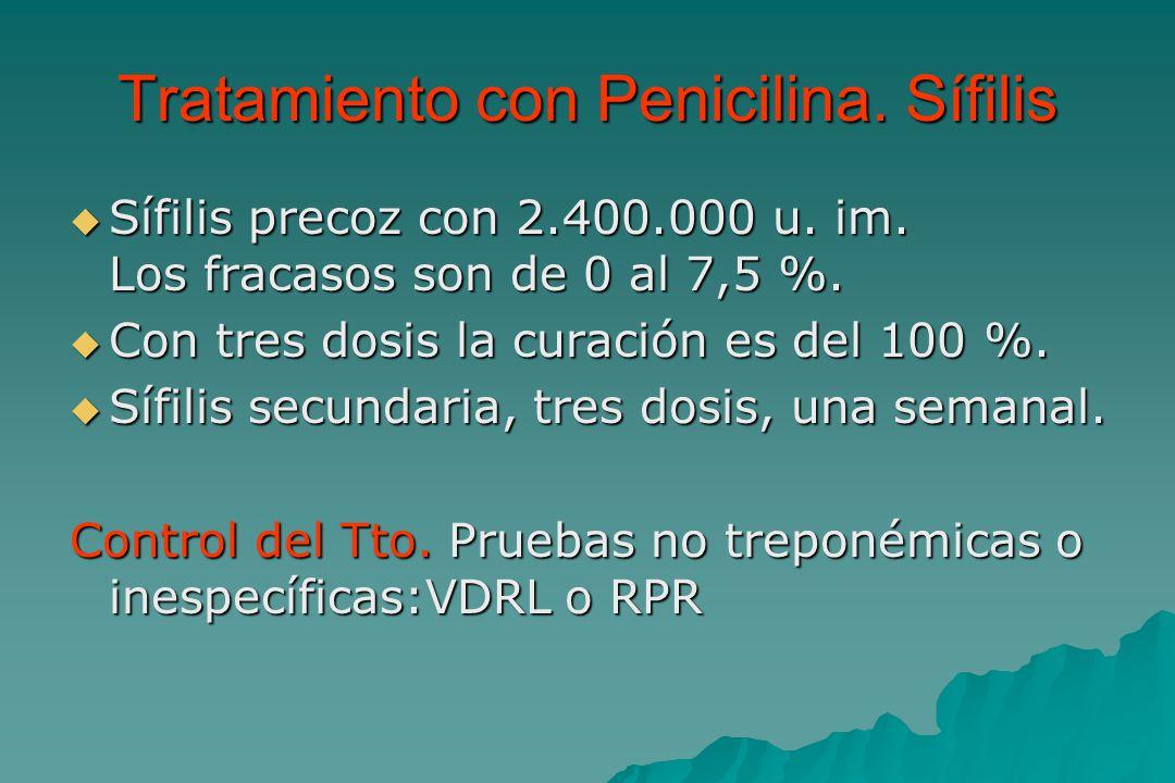 Tratamiento con Penicilina.Sífilis  Sífilis precoz con 2.400.000 u.