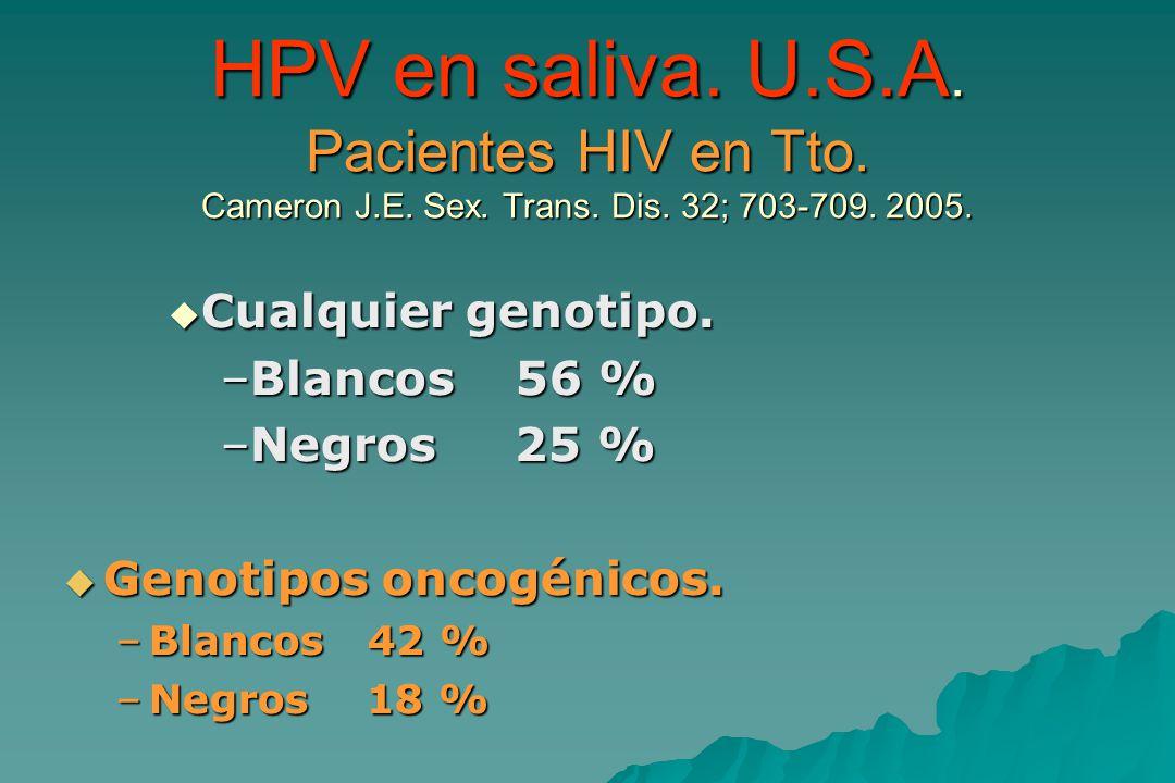HPV en saliva.U.S.A. Pacientes HIV en Tto. Cameron J.E.