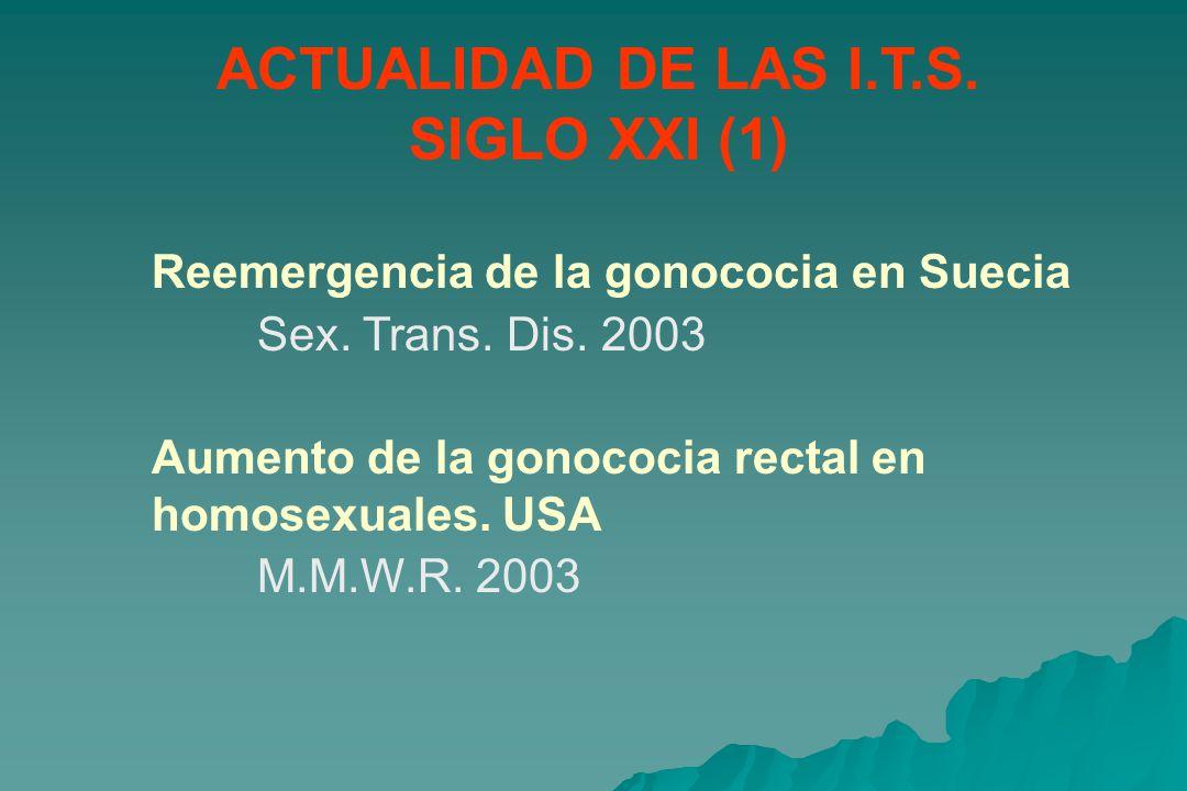 ACTUALIDAD DE LAS I.T.S.SIGLO XXI (1) Reemergencia de la gonococia en Suecia Sex.
