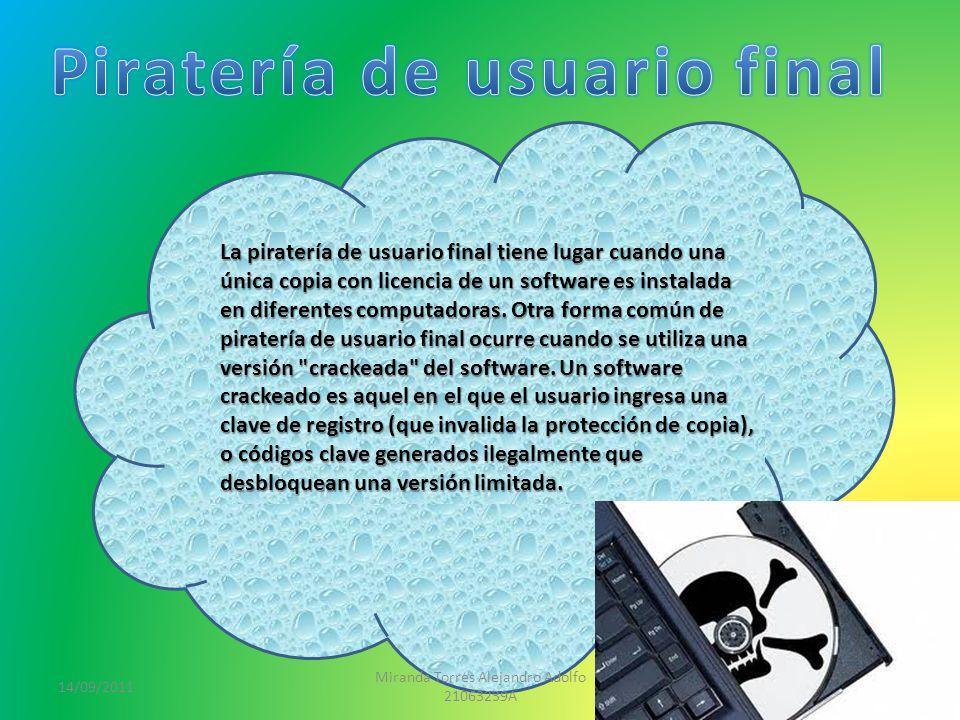 14/09/2011 Miranda Torres Alejandro Adolfo 21063239A 3 La piratería de usuario final tiene lugar cuando una única copia con licencia de un software es instalada en diferentes computadoras.