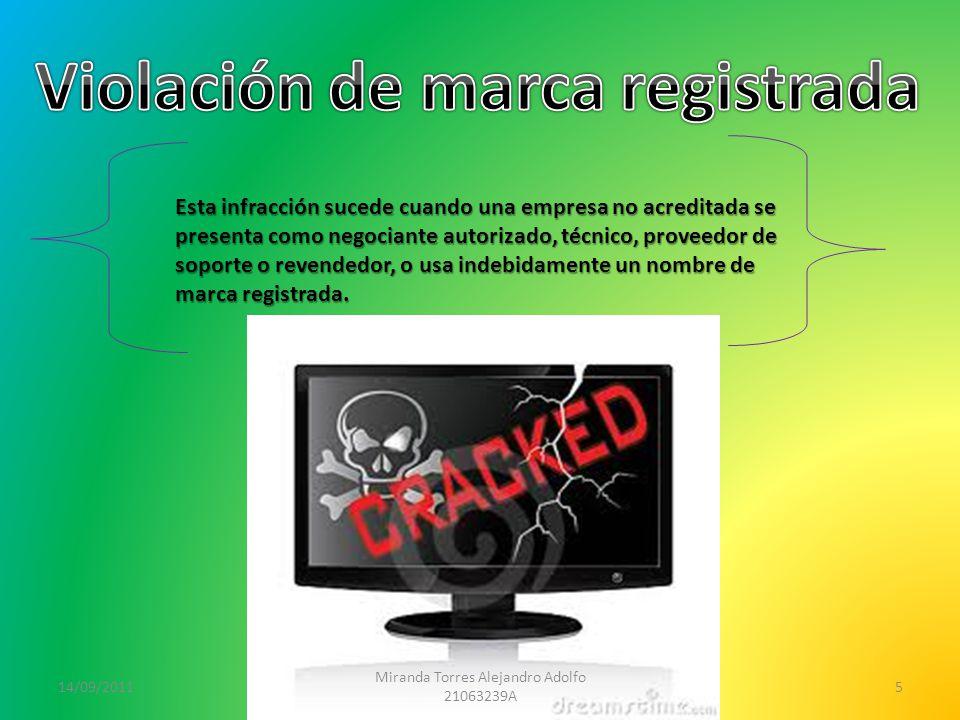 14/09/2011 Miranda Torres Alejandro Adolfo 21063239A 5 Esta infracción sucede cuando una empresa no acreditada se presenta como negociante autorizado, técnico, proveedor de soporte o revendedor, o usa indebidamente un nombre de marca registrada.