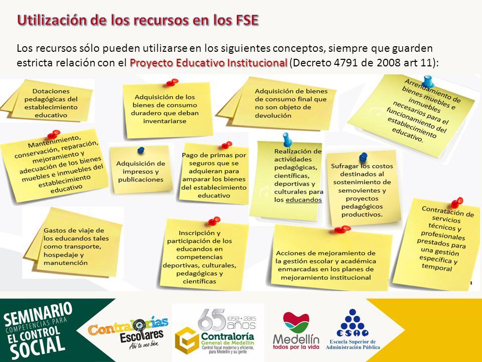 Proyecto Educativo Institucional Los recursos sólo pueden utilizarse en los siguientes conceptos, siempre que guarden estricta relación con el Proyect