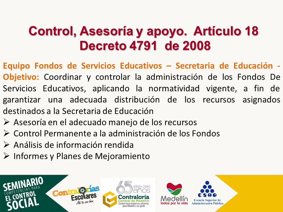 Equipo Fondos de Servicios Educativos – Secretaria de Educación - Objetivo: Coordinar y controlar la administración de los Fondos De Servicios Educati