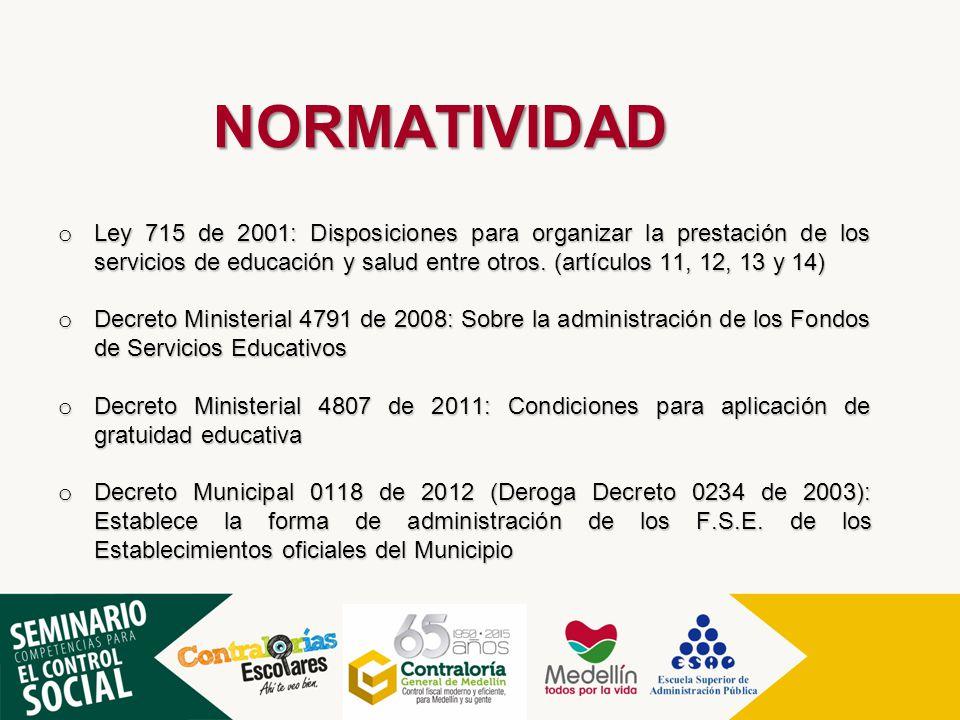 NORMATIVIDAD o Ley 715 de 2001: Disposiciones para organizar la prestación de los servicios de educación y salud entre otros. (artículos 11, 12, 13 y