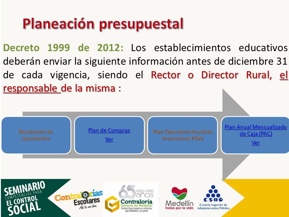 Rector o Director Rural, el responsable de la misma Decreto 1999 de 2012: Los establecimientos educativos deberán enviar la siguiente información ante