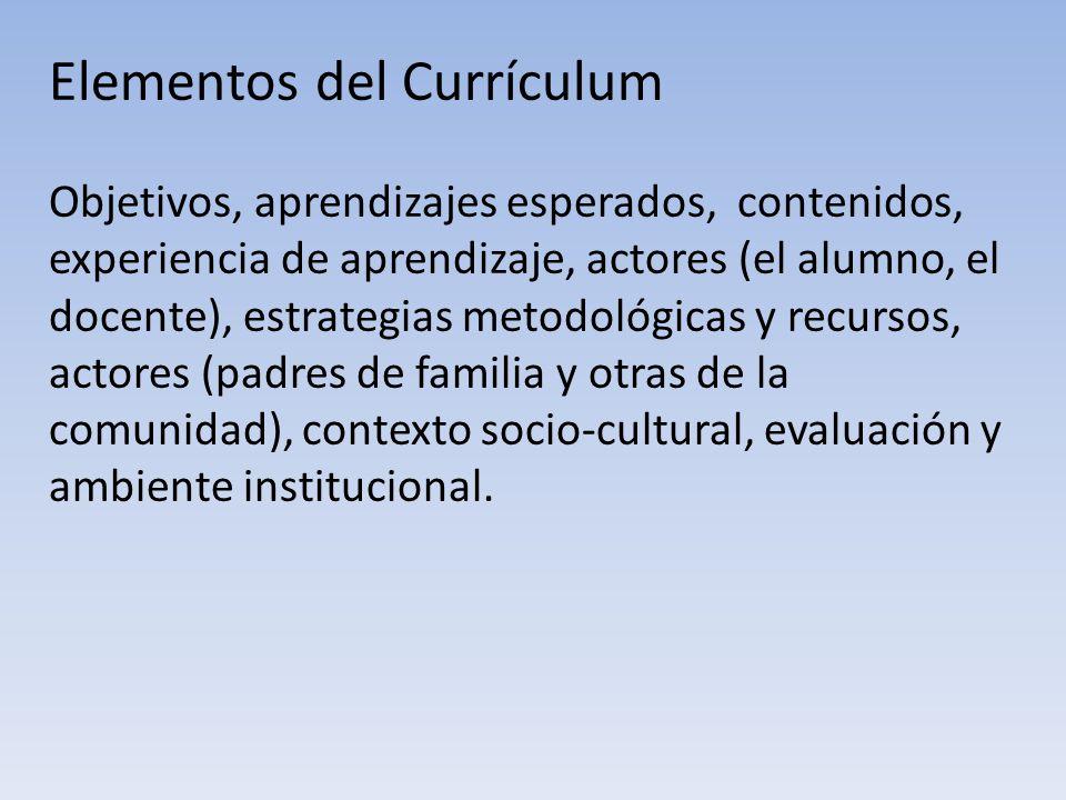 Elementos del Currículum Objetivos, aprendizajes esperados, contenidos, experiencia de aprendizaje, actores (el alumno, el docente), estrategias metod