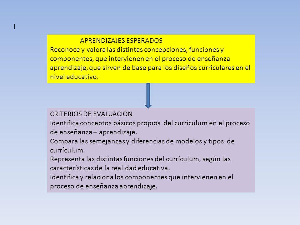 APRENDIZAJES ESPERADOS Reconoce y valora las distintas concepciones, funciones y componentes, que intervienen en el proceso de enseñanza aprendizaje,