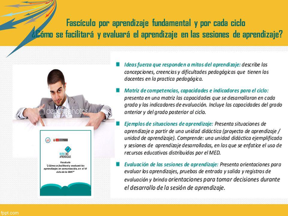 Fascículo por aprendizaje fundamental y por cada ciclo ¿Cómo se facilitará y evaluará el aprendizaje en las sesiones de aprendizaje?