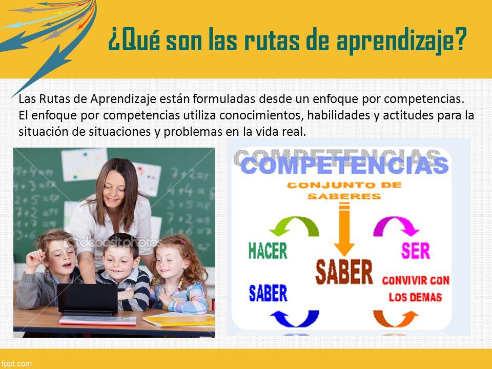 Las Rutas de Aprendizaje están formuladas desde un enfoque por competencias. El enfoque por competencias utiliza conocimientos, habilidades y actitude