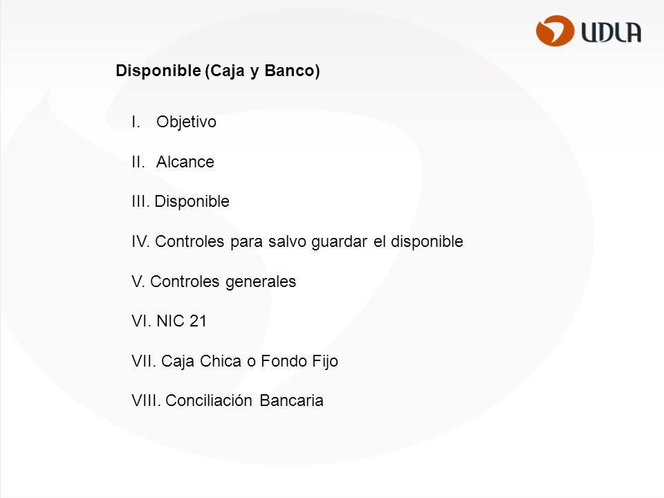 I.Objetivo II.Alcance III.Disponible IV. Controles para salvo guardar el disponible V.