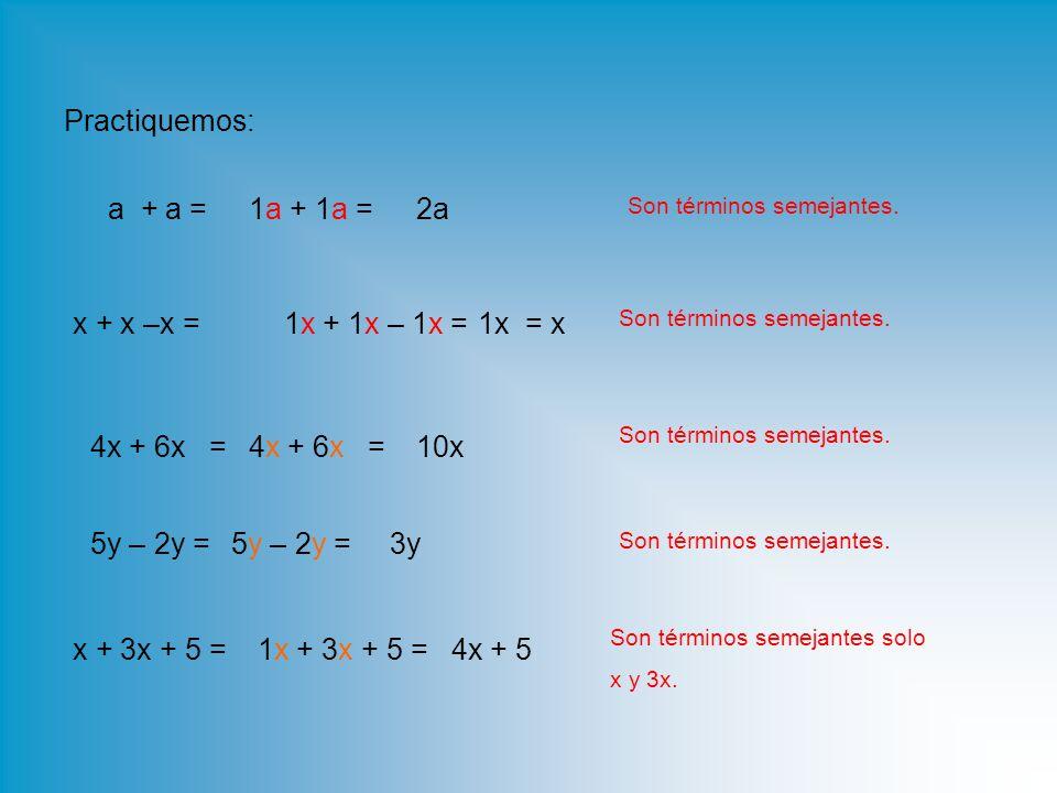 Practiquemos: a + a = 5y – 2y = x + x –x = 4x + 6x = x + 3x + 5 = Son términos semejantes.