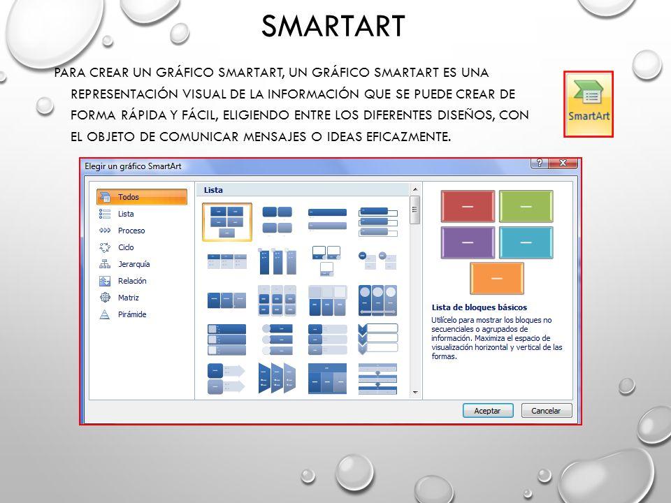 SMARTART PARA CREAR UN GRÁFICO SMARTART, UN GRÁFICO SMARTART ES UNA REPRESENTACIÓN VISUAL DE LA INFORMACIÓN QUE SE PUEDE CREAR DE FORMA RÁPIDA Y FÁCIL