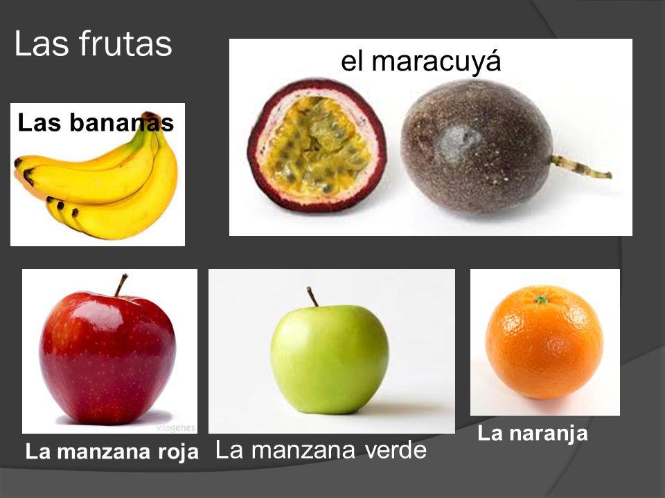 Las frutas Elel maracuyá La manzana verde La manzana roja La naranja Las bananas