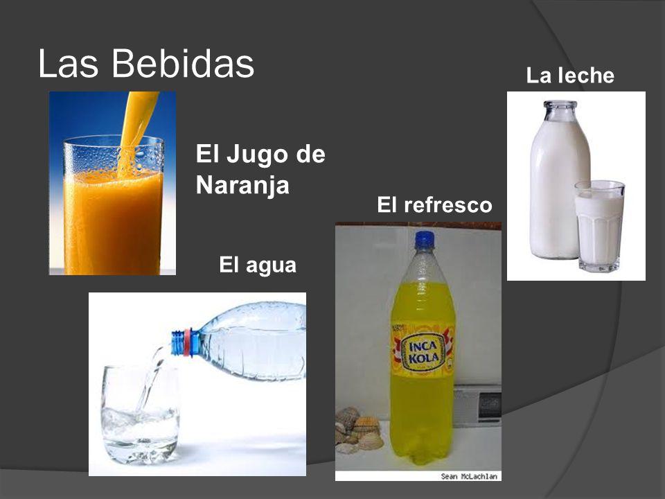 Las Bebidas El Jugo de Naranja El agua El refresco La leche