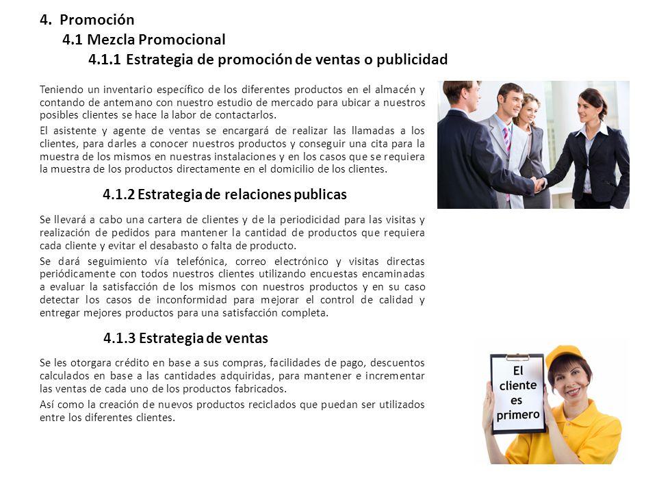 4. Promoción 4.1 Mezcla Promocional 4.1.1 Estrategia de promoción de ventas o publicidad Teniendo un inventario específico de los diferentes productos