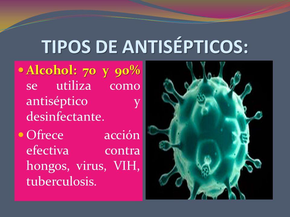 TIPOS DE ANTISÉPTICOS: Alcohol: 70 y 90% Alcohol: 70 y 90% se utiliza como antiséptico y desinfectante.