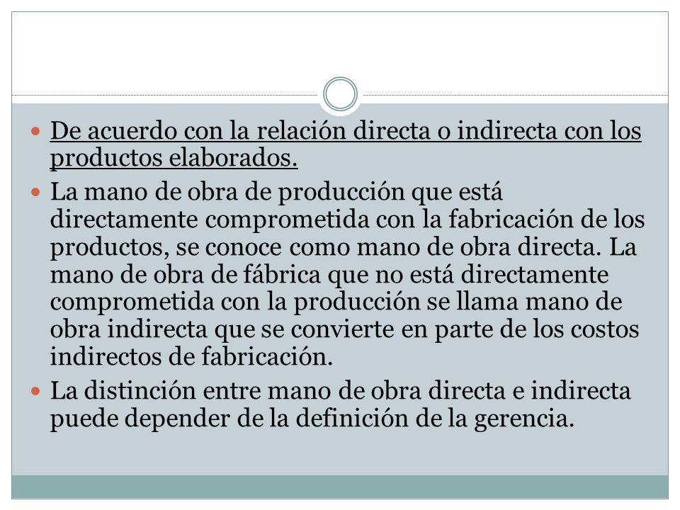 De acuerdo con la relación directa o indirecta con los productos elaborados. La mano de obra de producción que está directamente comprometida con la f