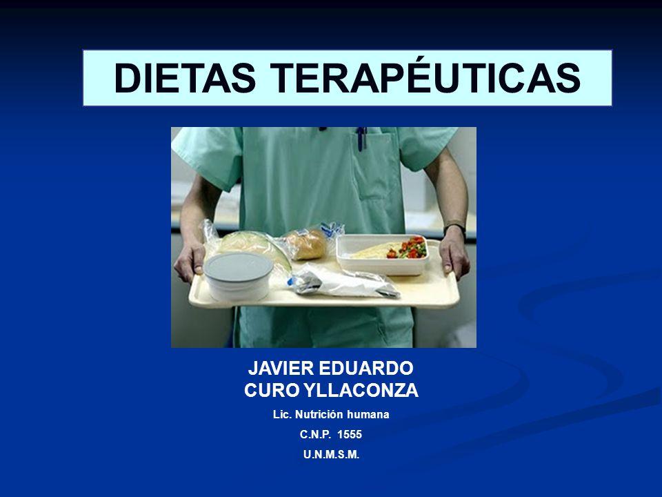 DIETAS TERAPÉUTICAS JAVIER EDUARDO CURO YLLACONZA Lic. Nutrición humana C.N.P. 1555 U.N.M.S.M.