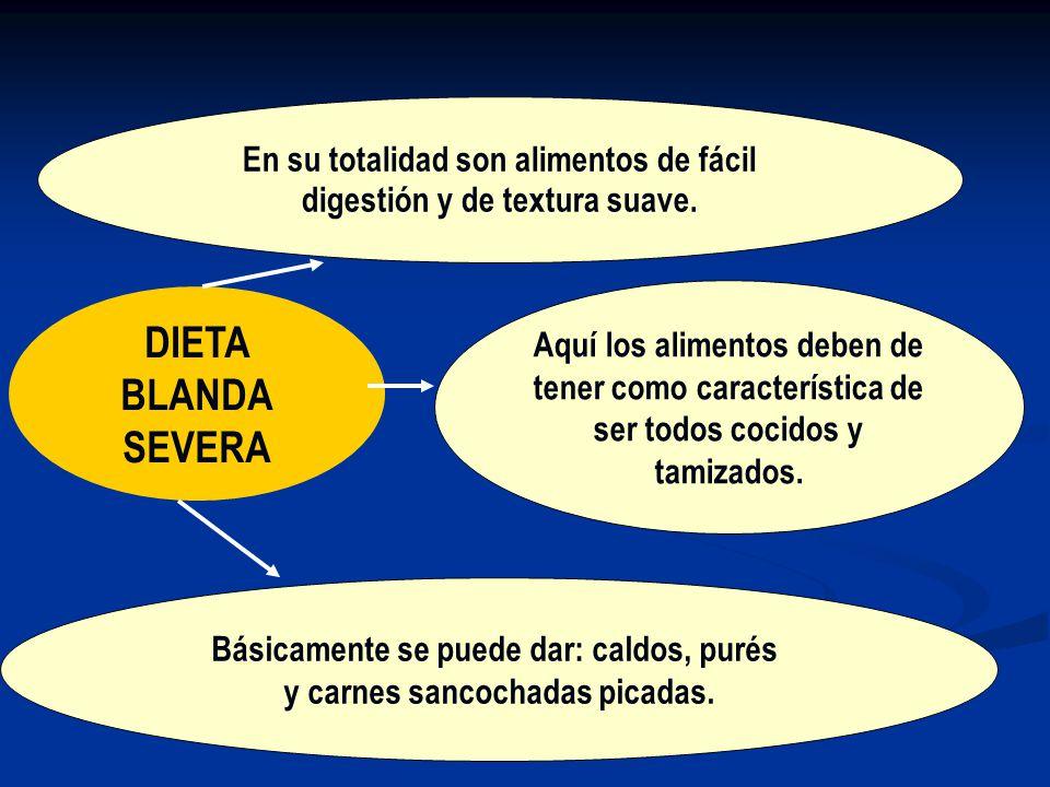 DIETA BLANDA SEVERA En su totalidad son alimentos de fácil digestión y de textura suave.