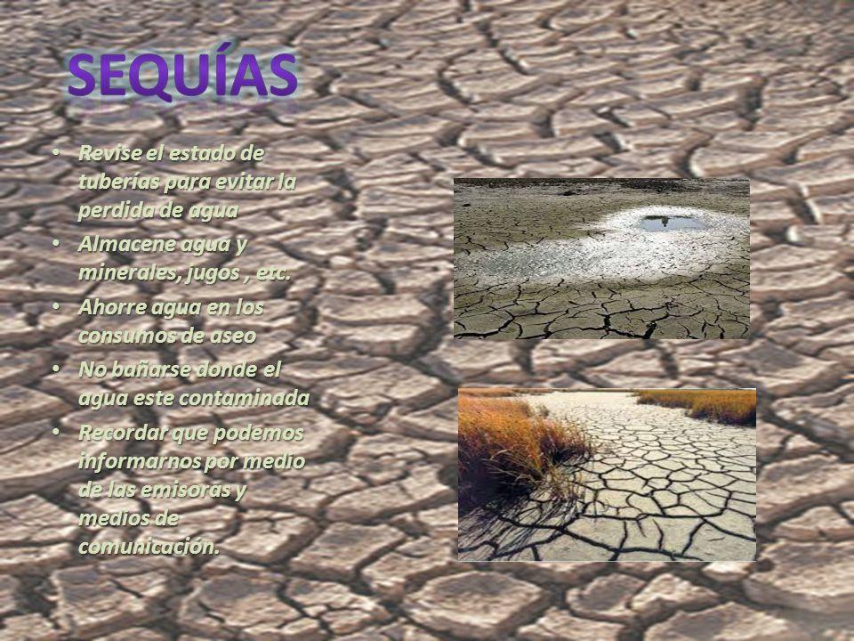 Revise el estado de tuberías para evitar la perdida de agua Revise el estado de tuberías para evitar la perdida de agua Almacene agua y minerales, jugos, etc.