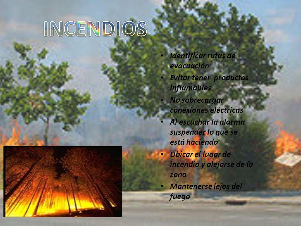 Identificar rutas de evacuación Evitar tener productos inflamables No sobrecargar conexiones eléctricas Al escuchar la alarma suspender lo que se está haciendo Ubicar el lugar de incendio y alejarse de la zona Mantenerse lejos del fuego