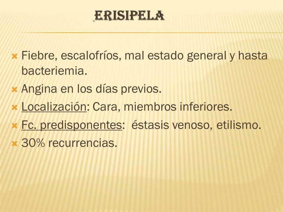 ERISIPELA  Fiebre, escalofríos, mal estado general y hasta bacteriemia.