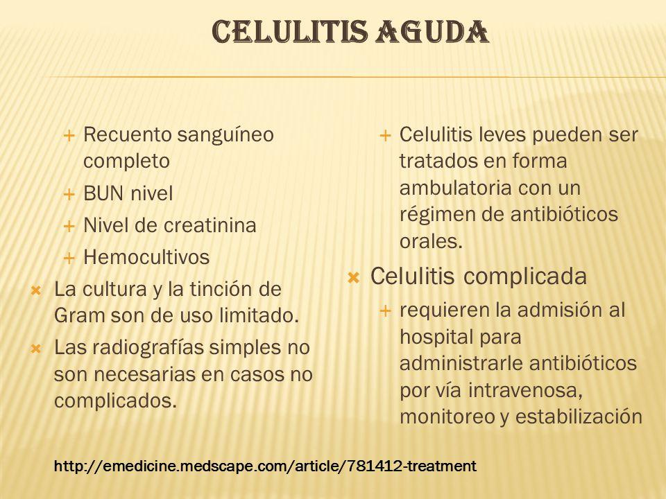 CELULITIS AGUDA  Recuento sanguíneo completo  BUN nivel  Nivel de creatinina  Hemocultivos  La cultura y la tinción de Gram son de uso limitado.