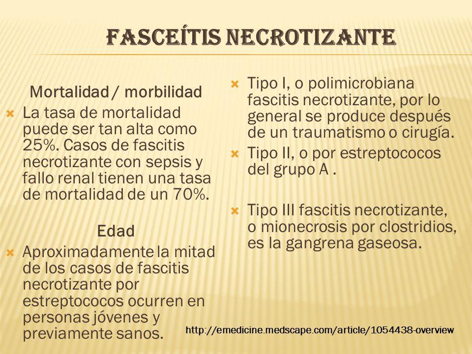 FASCEÍTIS NECROTIZANTE Mortalidad / morbilidad  La tasa de mortalidad puede ser tan alta como 25%. Casos de fascitis necrotizante con sepsis y fallo