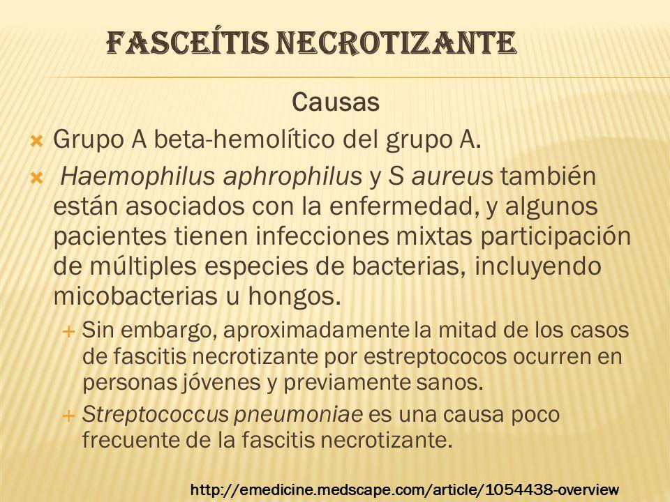 FASCEÍTIS NECROTIZANTE Causas  Grupo A beta-hemolítico del grupo A.  Haemophilus aphrophilus y S aureus también están asociados con la enfermedad, y