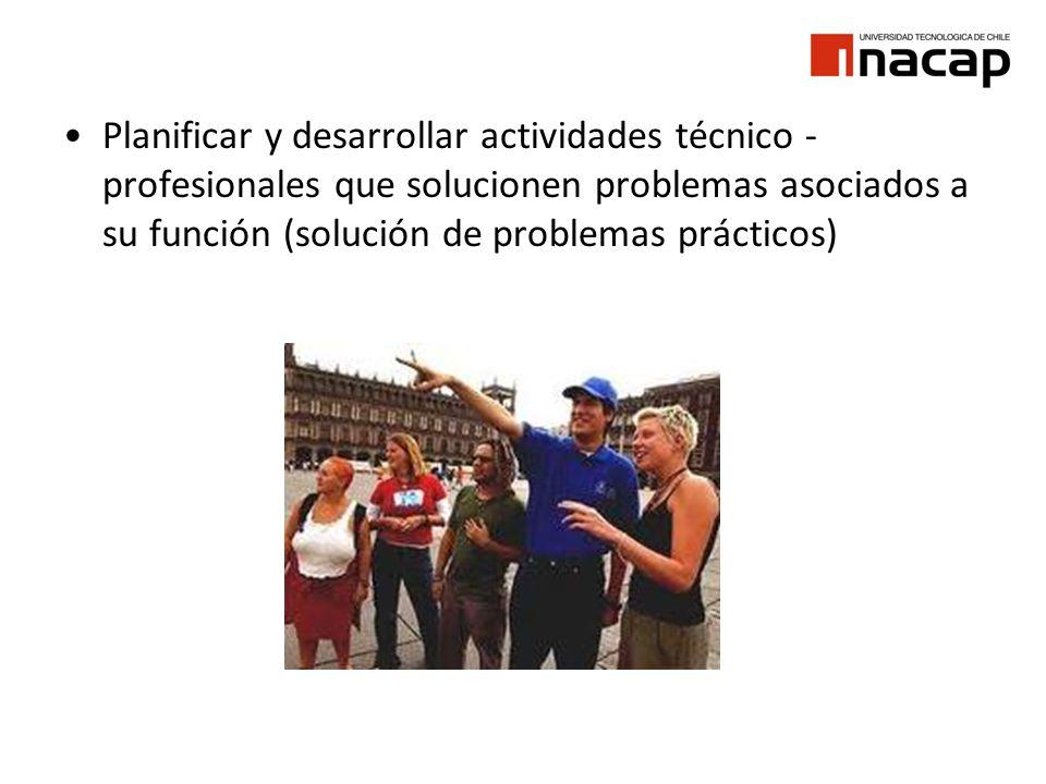 Planificar y desarrollar actividades técnico - profesionales que solucionen problemas asociados a su función (solución de problemas prácticos)