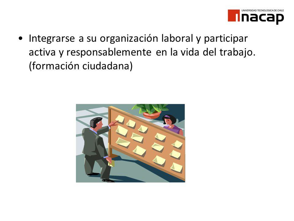 Integrarse a su organización laboral y participar activa y responsablemente en la vida del trabajo. (formación ciudadana)
