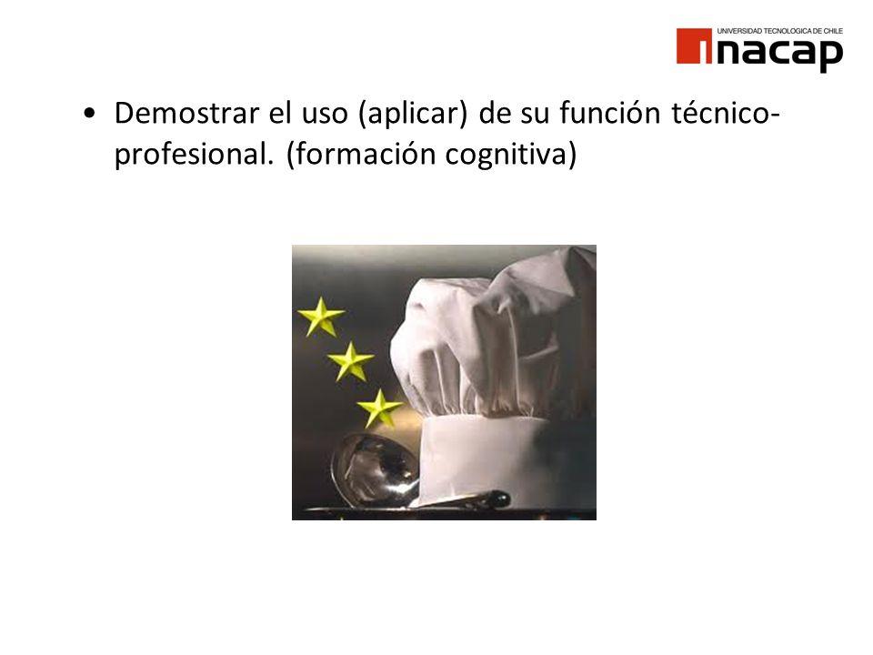 Demostrar el uso (aplicar) de su función técnico- profesional. (formación cognitiva)