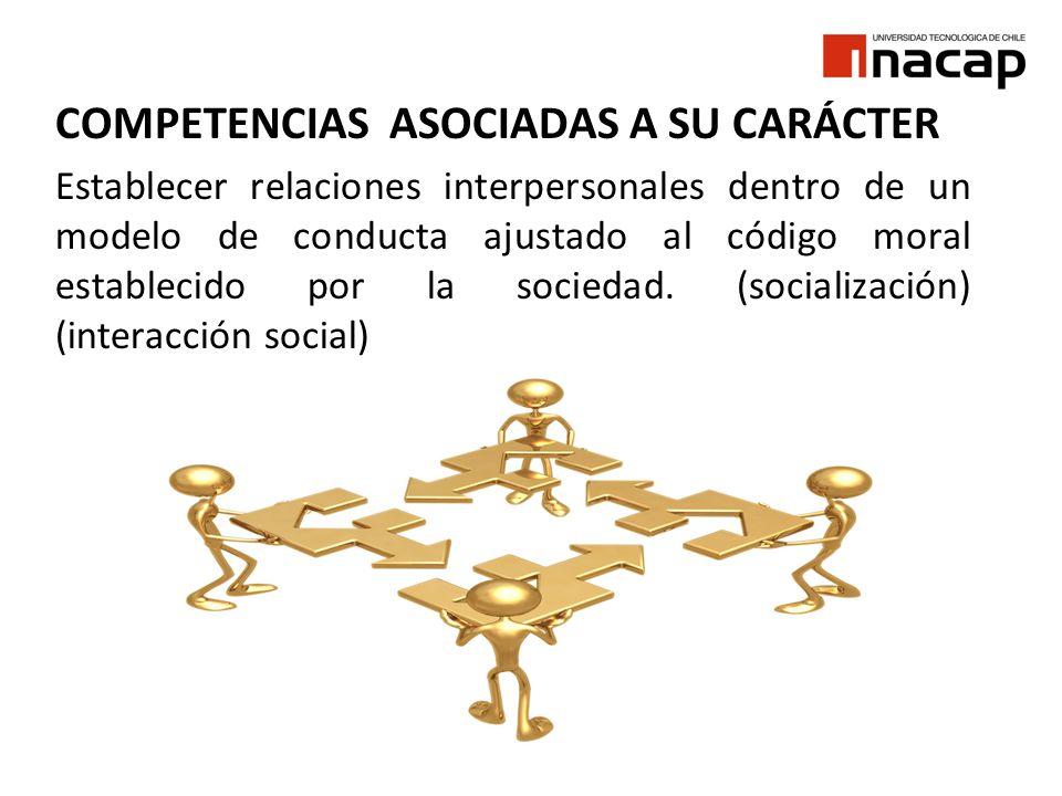 COMPETENCIAS ASOCIADAS A SU CARÁCTER Establecer relaciones interpersonales dentro de un modelo de conducta ajustado al código moral establecido por la