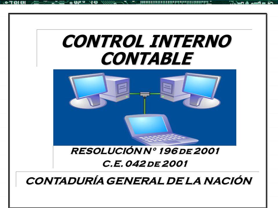 Control Interno Contable RESOLUCION 196 DE 2001 1.DEFINICIONES 2.OPERATIVIDAD 2.OPERATIVIDAD DEL CONTROL INTERNO CONTABLE 3.RESPONSABILIDAD 3.RESPONSABILIDAD EN SU IMPLEMENTACION 4.FUNCION 4.FUNCION DE EVALUACION Y VERIFICACION 5.COMUNICACIÓN 5.COMUNICACIÓN DE RESULTADOS