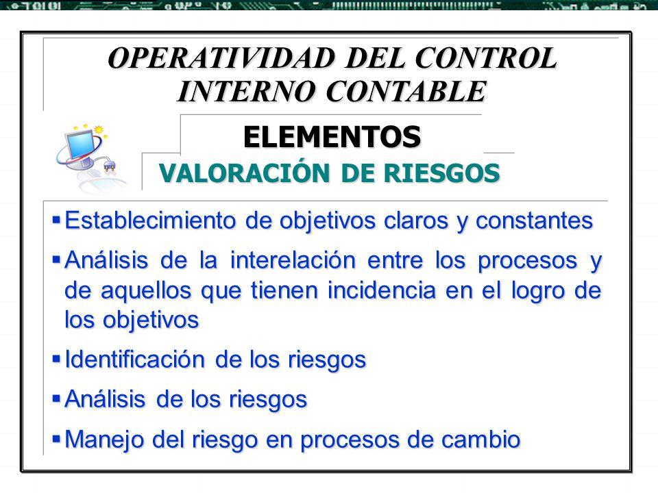 OPERATIVIDAD DEL CONTROL INTERNO CONTABLE  Establecimiento de objetivos claros y constantes  Análisis de la interelación entre los procesos y de aqu