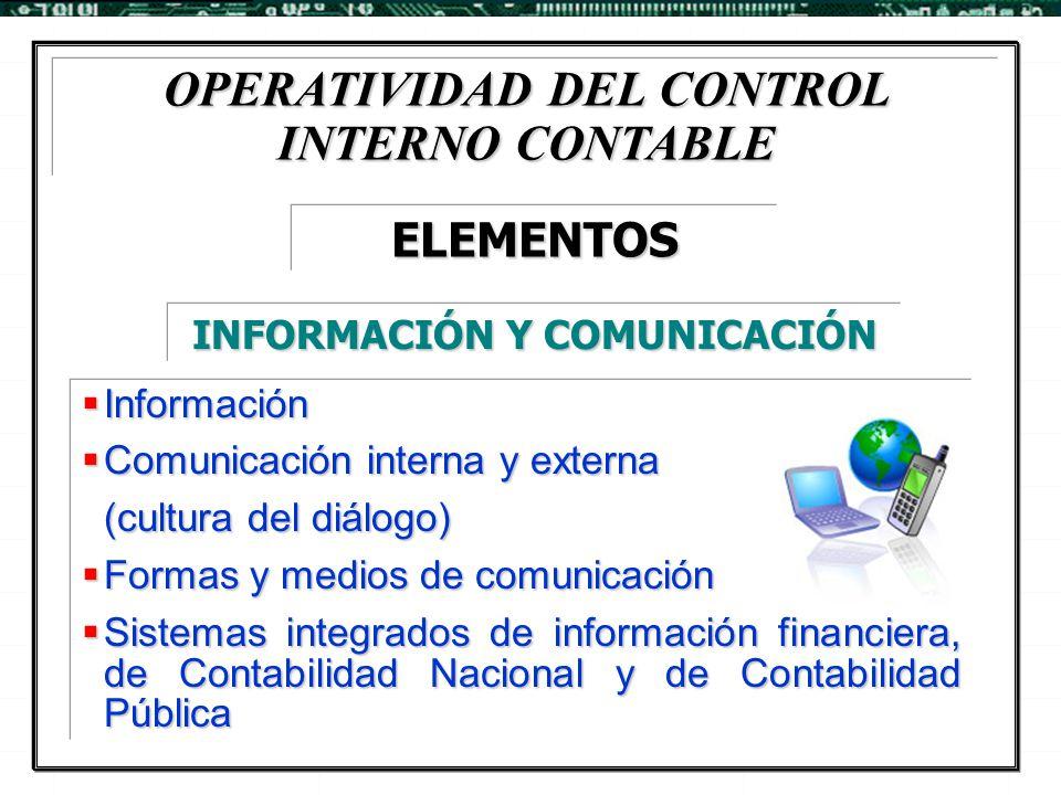 OPERATIVIDAD DEL CONTROL INTERNO CONTABLE  Información  Comunicación interna y externa (cultura del diálogo)  Formas y medios de comunicación  Sis