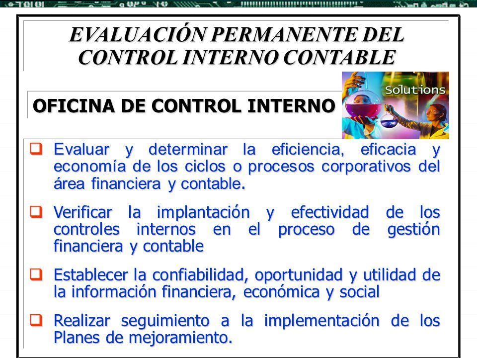 EVALUACIÓN PERMANENTE DEL CONTROL INTERNO CONTABLE  Evaluar y determinar la eficiencia, eficacia y economía de los ciclos o procesos corporativos del