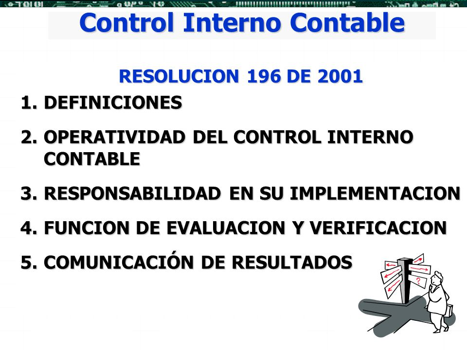 Control Interno Contable RESOLUCION 196 DE 2001 1.DEFINICIONES 2.OPERATIVIDAD 2.OPERATIVIDAD DEL CONTROL INTERNO CONTABLE 3.RESPONSABILIDAD 3.RESPONSA