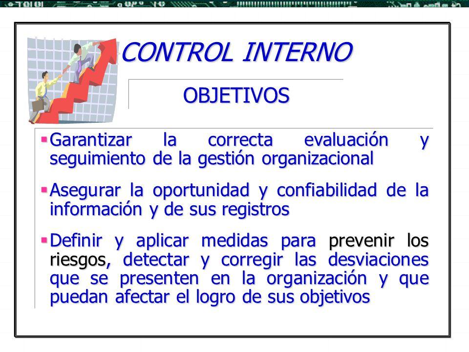 CONTROL INTERNO  Garantizar la correcta evaluación y seguimiento de la gestión organizacional  Asegurar la oportunidad y confiabilidad de la informa