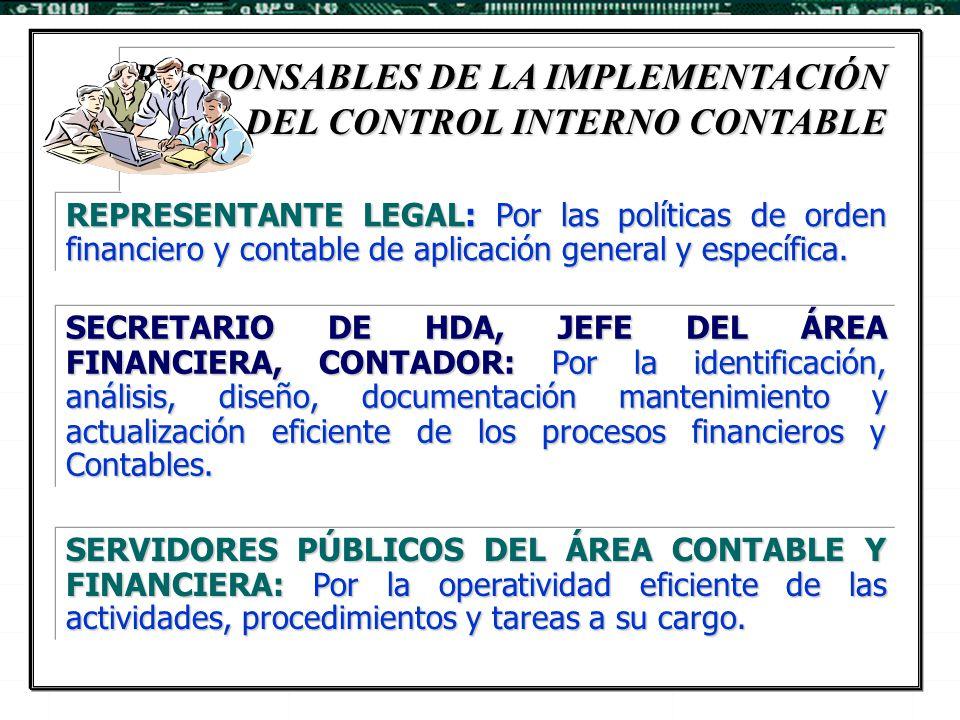 REPRESENTANTE LEGAL: Por las políticas de orden financiero y contable de aplicación general y específica. SECRETARIO DE HDA, JEFE DEL ÁREA FINANCIERA,